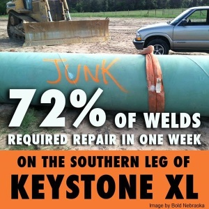 KXL_LowQuality Pipe welds for tar sands pipeline - pumped using high pressure.